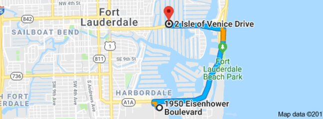 Distanza da Casa galleggiante al Convention Center