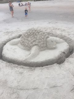 Sand Art in Front of Water's Edge Resort