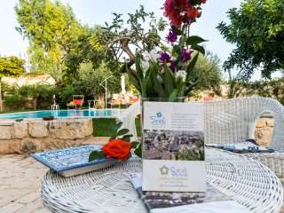Holiday home the garden of the caroob trees 100 m from the sea and sandy beach