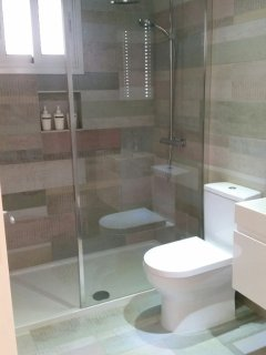 Spacious Walk-in Shower. The apartment is contemporary and modern in furnishings and amenities