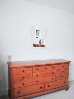 Dresser in Queen Bedroom with Memory Foam matress