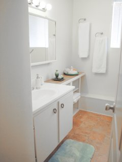 First Bathroom with recessed lighting in the shower