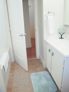 First bathroom with recessed shower lighting