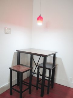 Dinner table with dim-able lights.