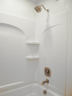 2nd Bathroom shower with recessed lighting.