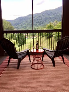 Relax and enjoy a glass of wine while you watch the sun set on our comfy screened porch. Nice views.