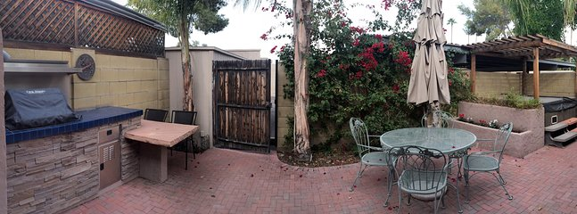 Panorama of beautiful private patio