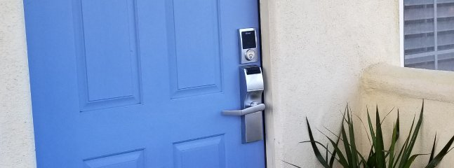 Key pad unlocks & disarms 24 hour monitored alarm system W/ exterior video cameras for your safety.