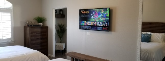 55' smartTV with Netflix and cable service.