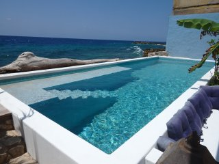 Large ocean front private pool, with views to the harbour.