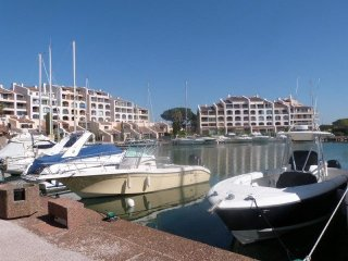 T2 at the Marines de Cogolin. View marina and sea