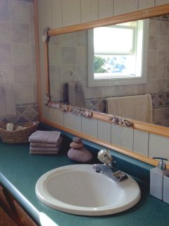 Bathroom on the first floor with tub/shower