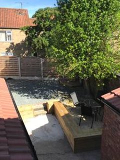 Rear garden with patio area