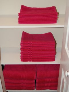 Neatly folded towels, changed out between each rental
