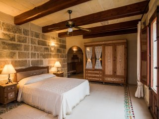 Ta'Karmni farmhouse B&B ' the Terrace' double bedroom with pool view