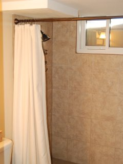 Basement bathroom has a tile enclosed shower