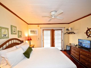 Quaint studio comfort with shared pool and sun deck - walk into town