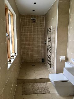 Walk in shower room on the ground floor.
