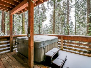 Deluxe alpine retreat w/lots of room, private hot tub, jetted master tub, & more