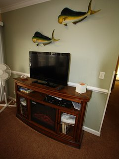 Entertainment wall with TV, VCR, Fish wall hangings, Floor fan, 2 Ceiling fans.