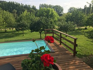 Pool over looking the orchard.