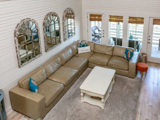 Huge sectional sofa great for relaxing.