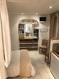 Large mirror-makeup space with extensive storage underneath
