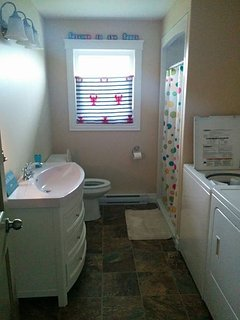 Bathroom #1 - Large shower with built in seat, lobster towel temporary - blinds to be installed in M