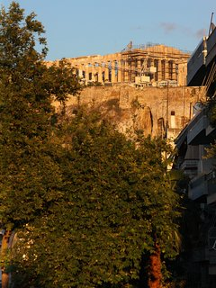 The tree-lined street leads straight to the Acropolis