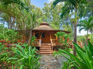2BR Hawaiian Dream Temple w/ Freshwater Pool, Private Hot Tub & Lush Gardens