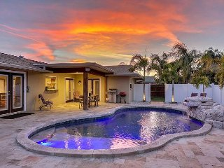 Resort-Style Retreat w/ Saltwater Pool, Hot Tub & Firepit – Near the Beach!