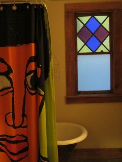 stained glass detail in bathroom