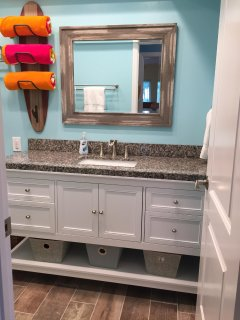 60' bathroom vanity with lots of countertop space.