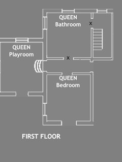 • The plan of the 2 room QUEEN Apartment with playroom and full bathroom.