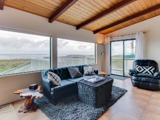 Dog-friendly, oceanfront home w/ great views, private hot tub, & beach access