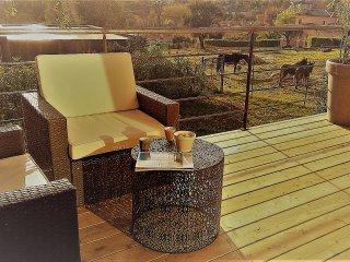 Jolie maison d'architecte en bois avec terrasse et piscine - 4 Personnes
