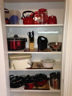 Pantry and all the cooking pots,pans,blender, and a lot more.