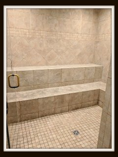 you will have access the the extra large stream shower in the clubhouse.
