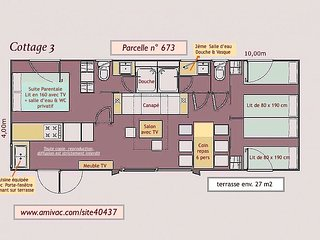 Mobil-home 'COTTAGE 3' 40 m2 Camping Club LA SIRENE