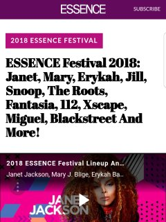 Upcoming events: Essence Festival,  see website,  July 2018