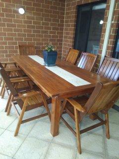 Outdoor dining under patio