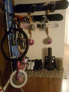 Bike, Surf board, and Snowboard Gear