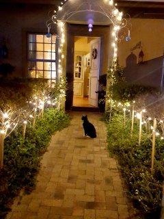 Main house entrance at night