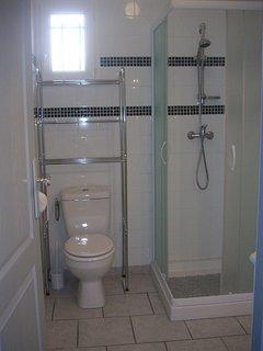 La salle d'eau avec douche, le toilette