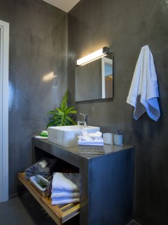 Bathroom with shower cabin on the first floor