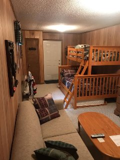 Downstairs suite with 3 brand new beds. 2 twins and 1 double