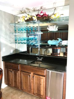 Wet bar with under counter ice maker