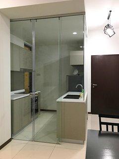 kitchen with glass slided door