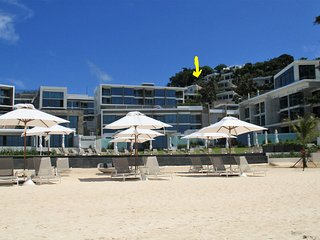 our villa (s. yellow arrow ) view from the beach with 5 star Crimson Resort in front