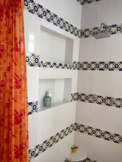 Comfortable shower with plenty of shelves for toiletries